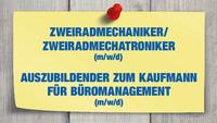 Zweiradmechaniker/Zweiradmechatroniker und Auszubildenden zum Kaufmann für Büromanagement (m/w/d) gesucht